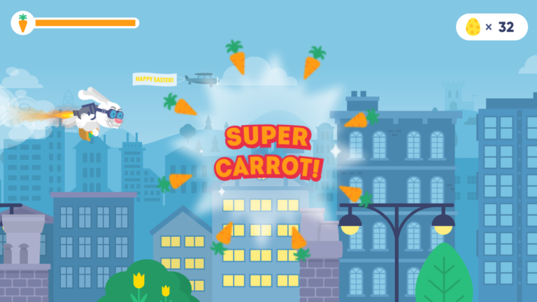 Super Carrot Mega Boost game play Easter branded game