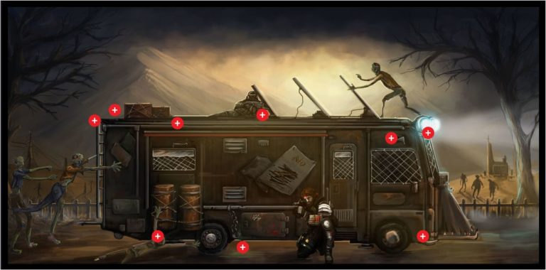 Halloween-themed web page with zombie-proof motorhome