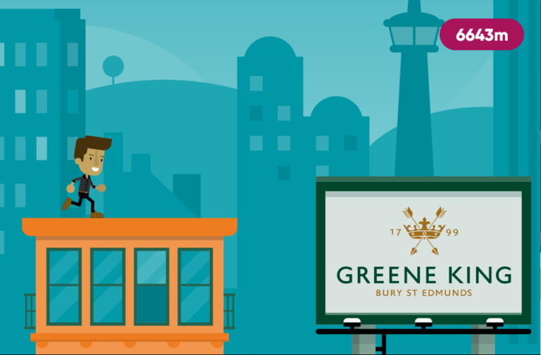 A screen capture of in-game footage from Greene King's Running the Pub employee engagement game.