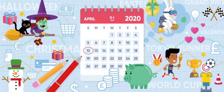 A playful image capturing some key marketing dates in 2020 for Peek & Poke's Marketing Calendar blog.