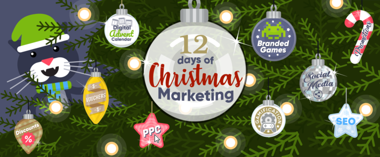 Christmas tree with baubles naming the different elements of a successful 12 Days of Christmas marketing campaign