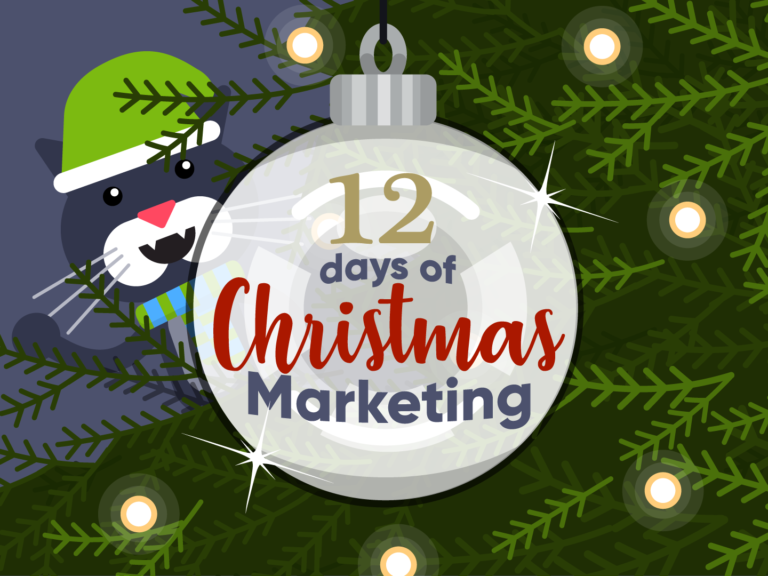 12 Days of Christmas marketing ideas bauble on a Christmas tree