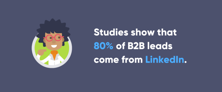 Image with statistic about B2B leads on LinkedIn