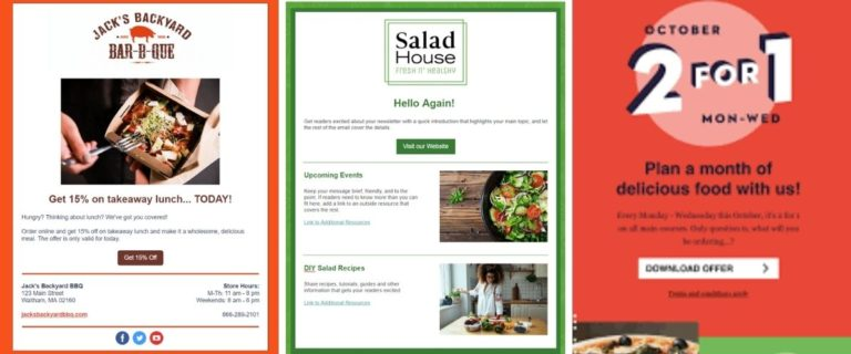 Examples of Email Newsletters for Restaurant Promotion