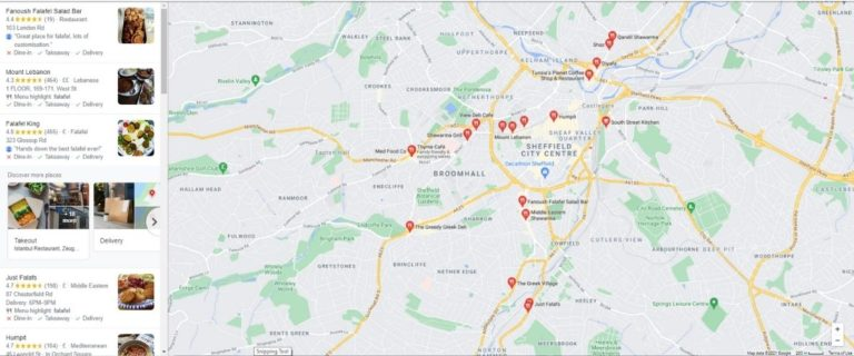 Google My Business Showing Restaurant Locations on Map 2021