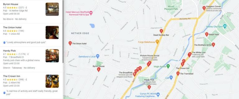 Screenshot of Google Maps showing pubs using Google My Business