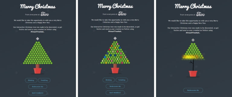 Series of Images Showing Interactive Christmas Card