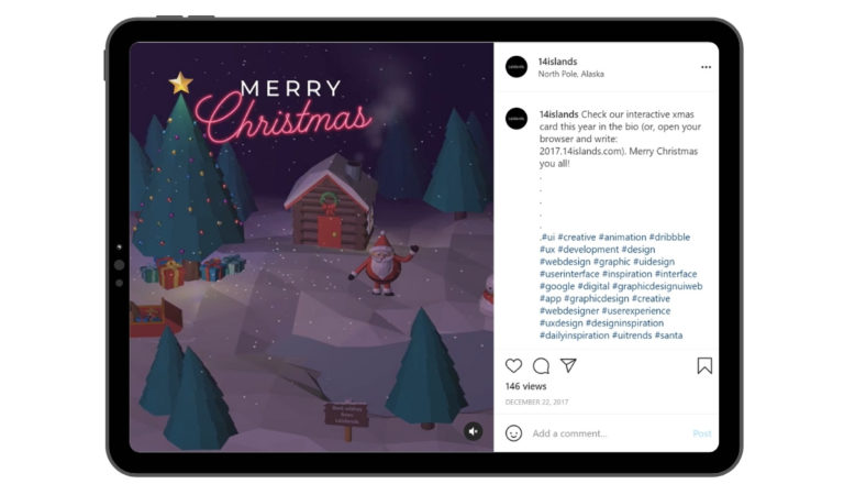 Interactive Christmas Card Example Posted on Instagram