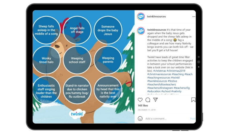 Twinkl Instagram Post for Fun Christmas Game